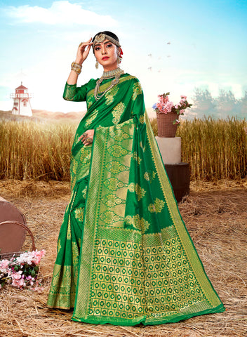 Green Poly Silk Heavy Work Designer Saree Sari