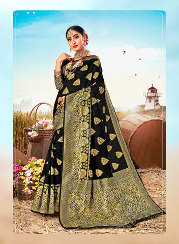 Black Poly Silk Heavy Work Designer Saree Sari