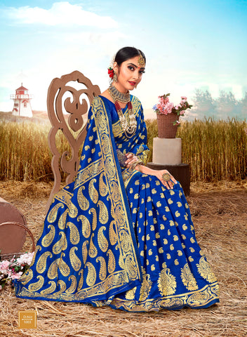 Blue Poly Silk Heavy Work Designer Saree Sari