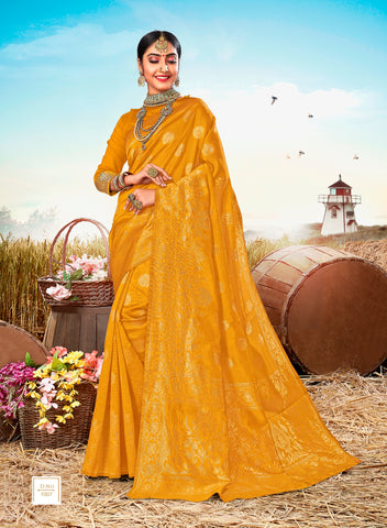 Yellow Poly Silk Heavy Work Designer Saree Sari