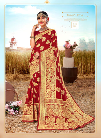Maroon Poly Silk Heavy Work Designer Saree Sari