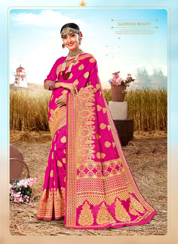 Deep Pink Poly Silk Heavy Work Designer Saree Sari