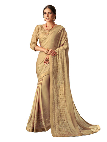 Gold Georgette Zari Embroidered Saree Sari