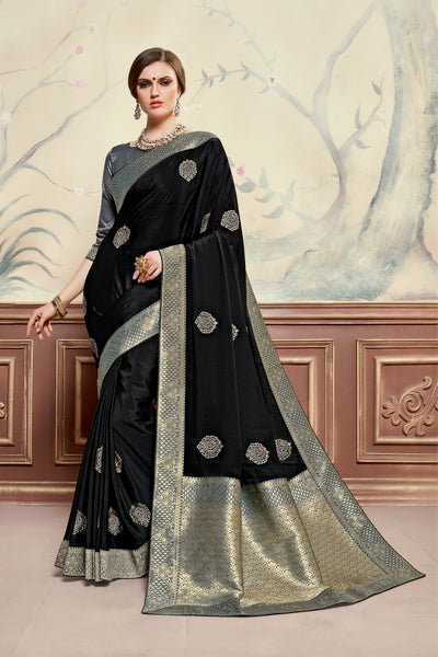 Black Poly Silk Heavy Embroidered Work Fancy Designer Saree Sari