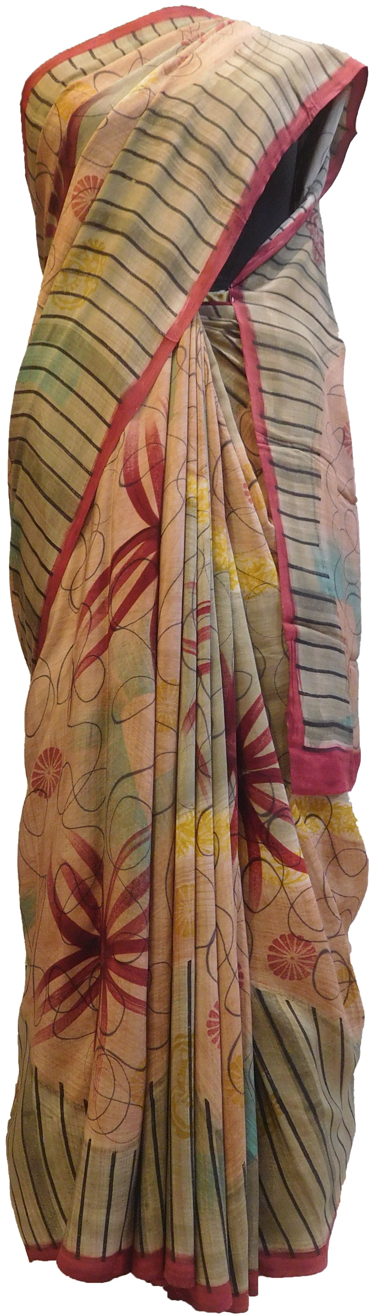 Multicolor Designer Wedding Partywear Pure Crepe Hand Brush Reprinted Kolkata Saree Sari RP100