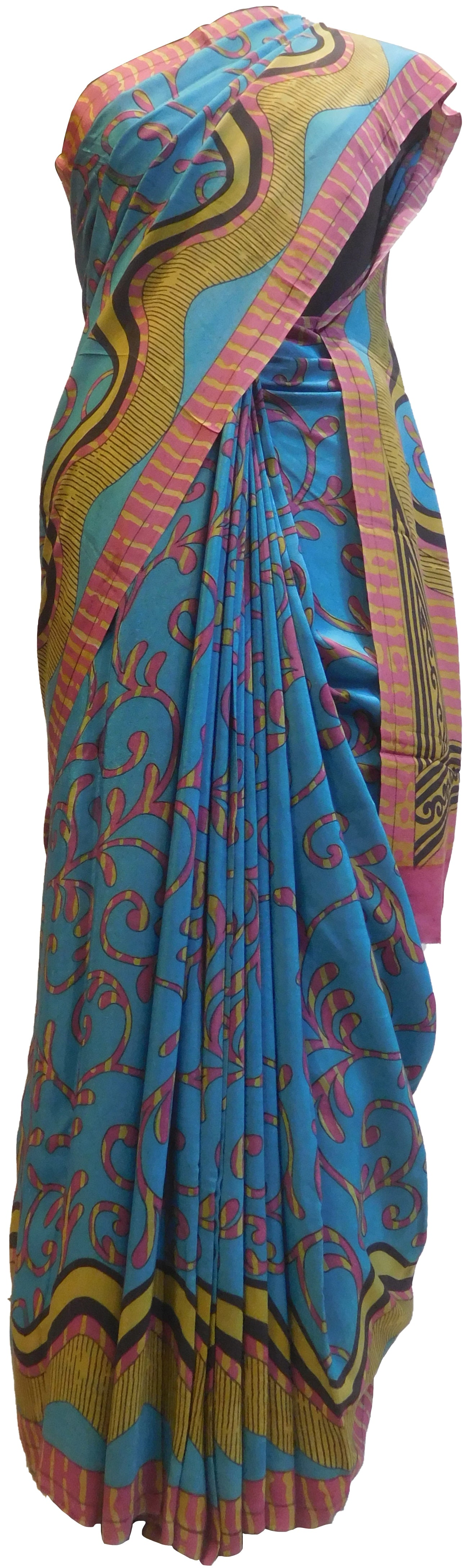 Multicolor Designer Wedding Partywear Pure Crepe Hand Brush Reprinted Kolkata Saree Sari RP109