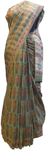 Multicolor Designer Wedding Partywear Pure Crepe Hand Brush Reprinted Kolkata Saree Sari RP10