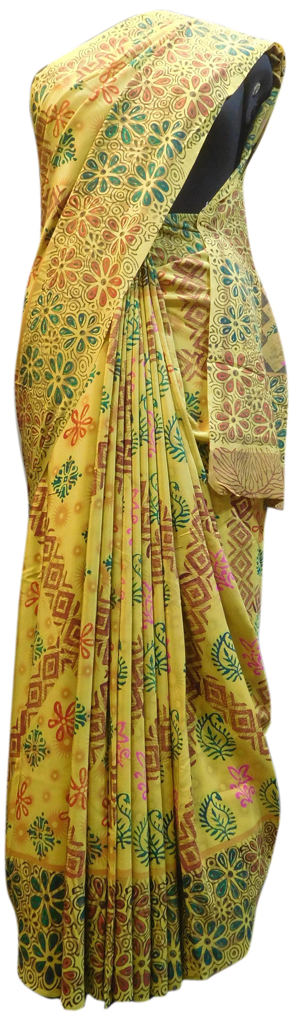 Multicolor Designer Wedding Partywear Pure Crepe Hand Brush Reprinted Kolkata Saree Sari RP151