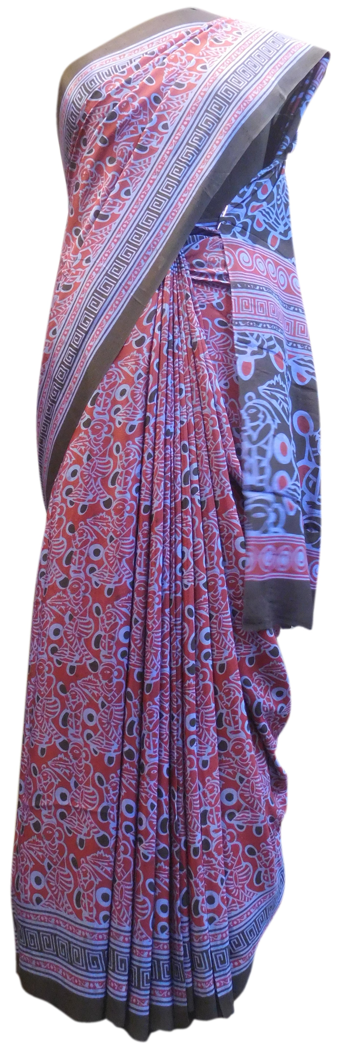 Multicolor Designer Wedding Partywear Pure Crepe Hand Brush Reprinted Kolkata Saree Sari RP158