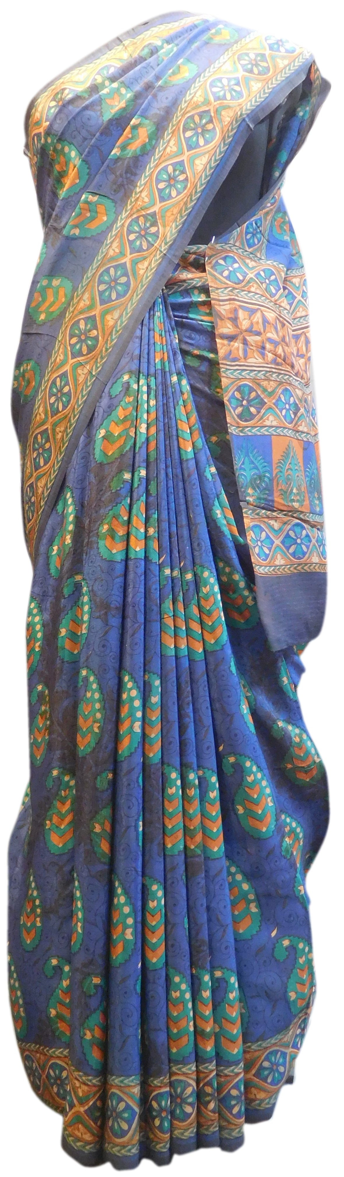 Multicolor Designer Wedding Partywear Pure Crepe Hand Brush Reprinted Kolkata Saree Sari RP159