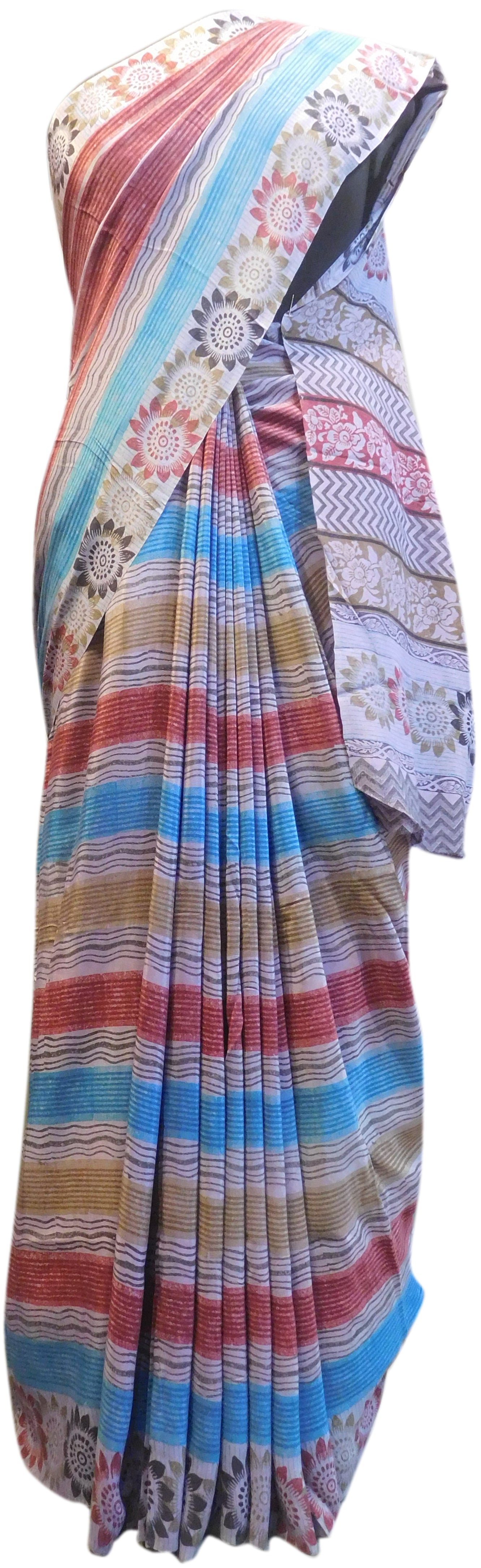 Multicolor Designer Wedding Partywear Pure Crepe Hand Brush Reprinted Kolkata Saree Sari RP160