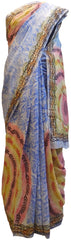 Multicolor Designer Wedding Partywear Pure Crepe Hand Brush Reprinted Kolkata Saree Sari RP17