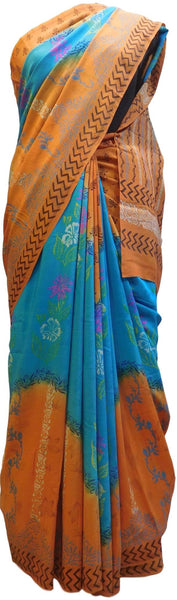 Multicolor Designer Wedding Partywear Pure Crepe Hand Brush Reprinted Kolkata Saree Sari RP18