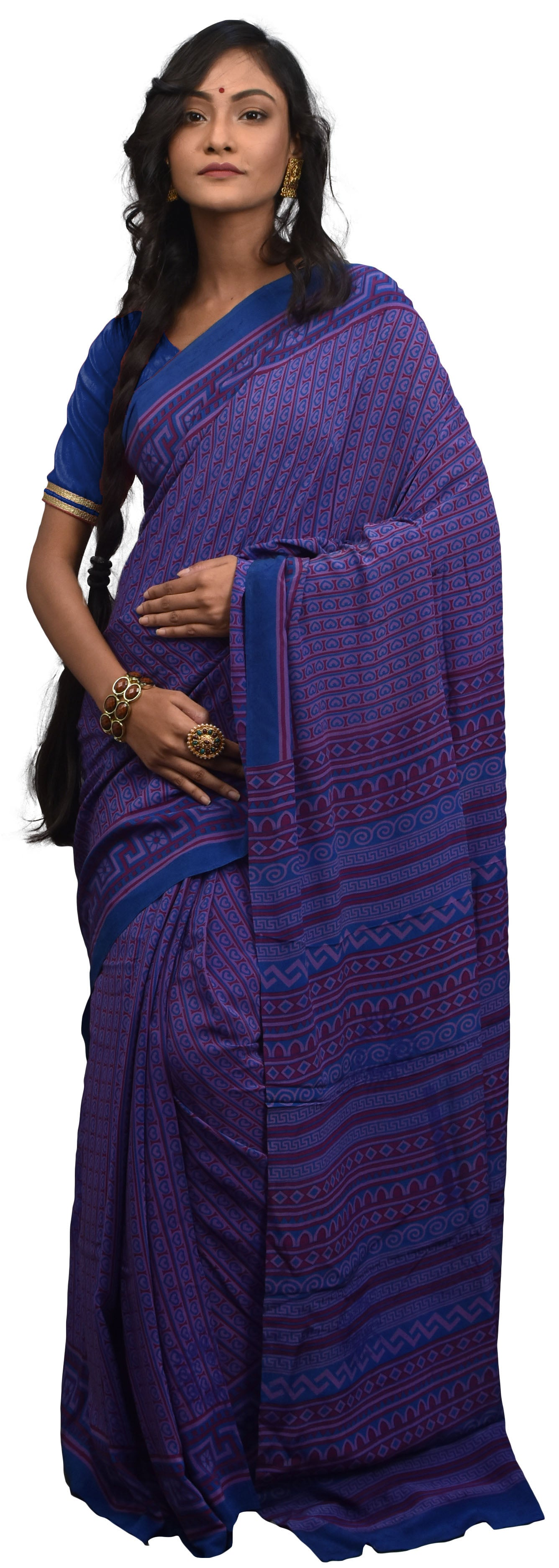 Multicolor Designer Wedding Partywear Pure Crepe Hand Brush Reprinted Kolkata Saree Sari RP200