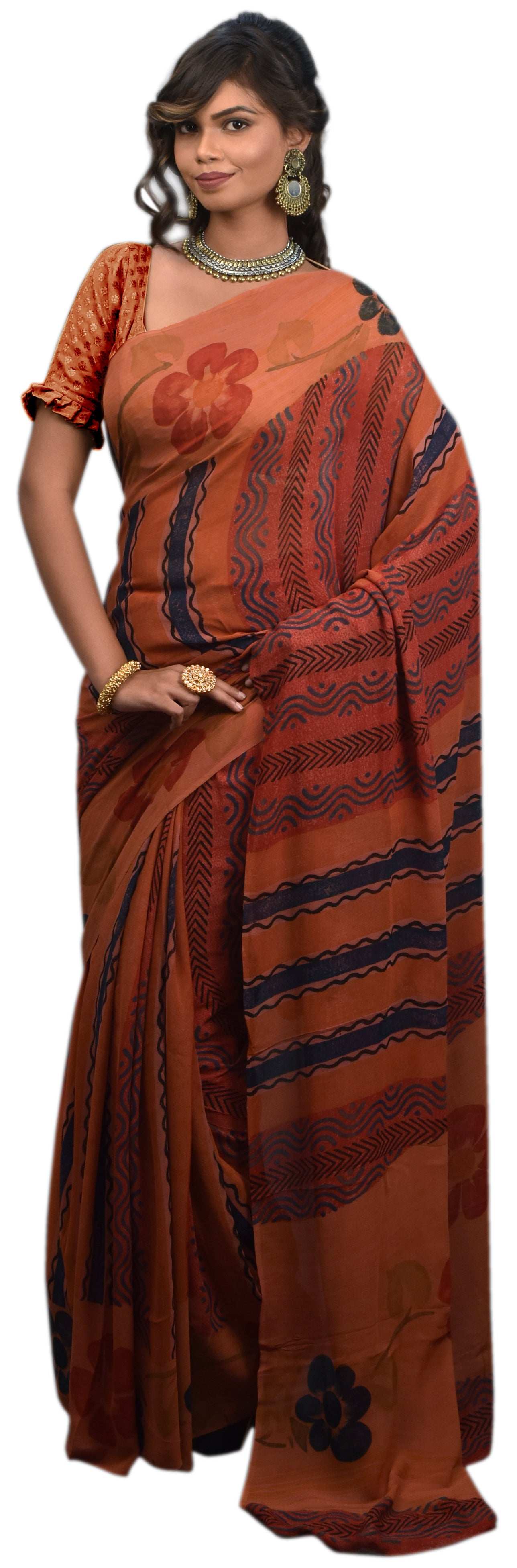 Multicolor Designer Wedding Partywear Pure Crepe Hand Brush Reprinted Kolkata Saree Sari RP202