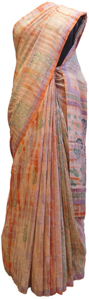 Multicolor Designer Wedding Partywear Pure Crepe Hand Brush Reprinted Kolkata Saree Sari RP23