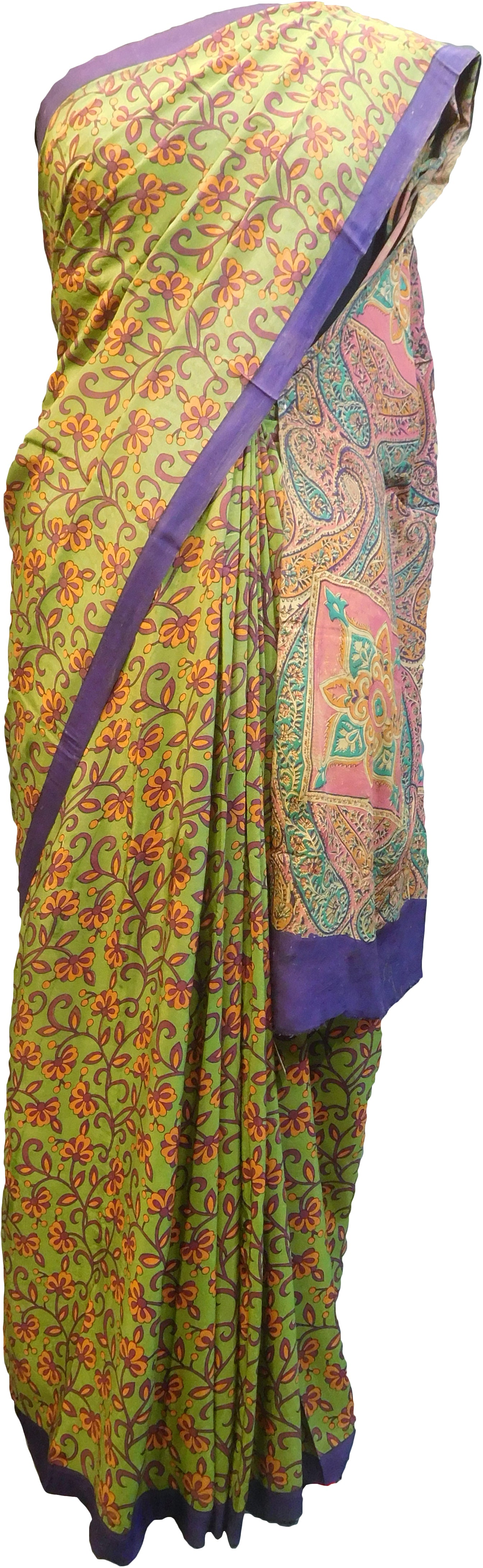 Multicolor Designer Wedding Partywear Pure Crepe Hand Brush Reprinted Kolkata Saree Sari RP254
