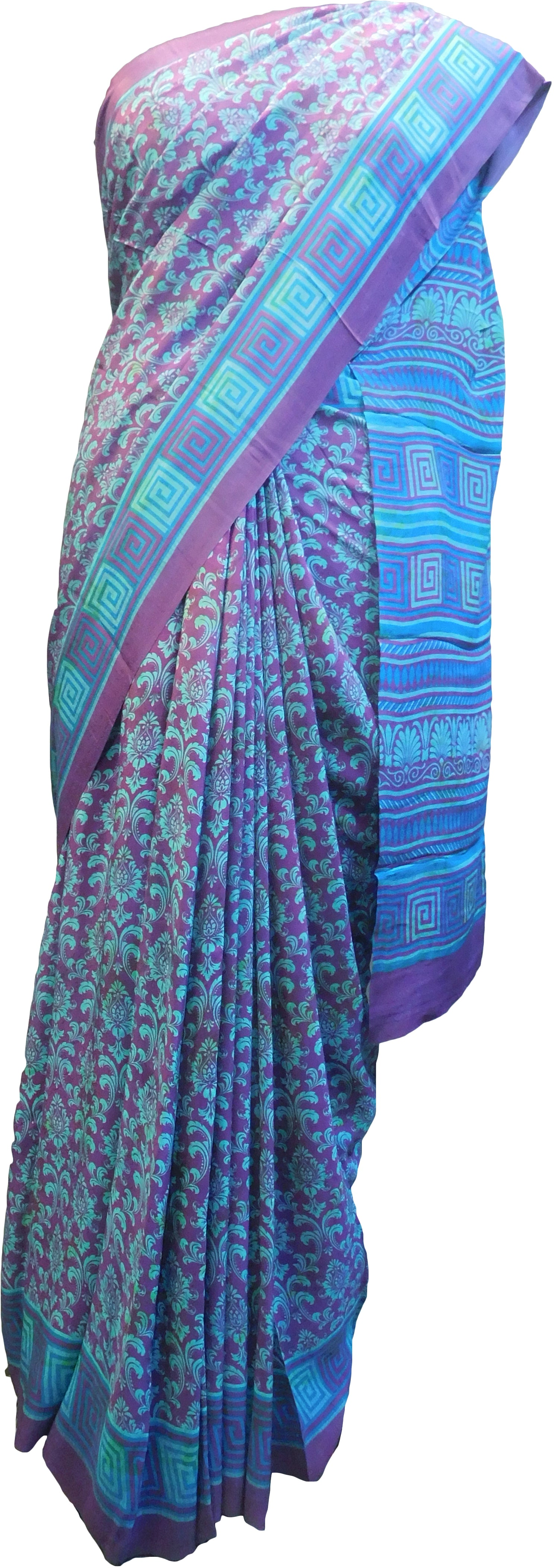 Multicolor Designer Wedding Partywear Pure Crepe Hand Brush Reprinted Kolkata Saree Sari RP257