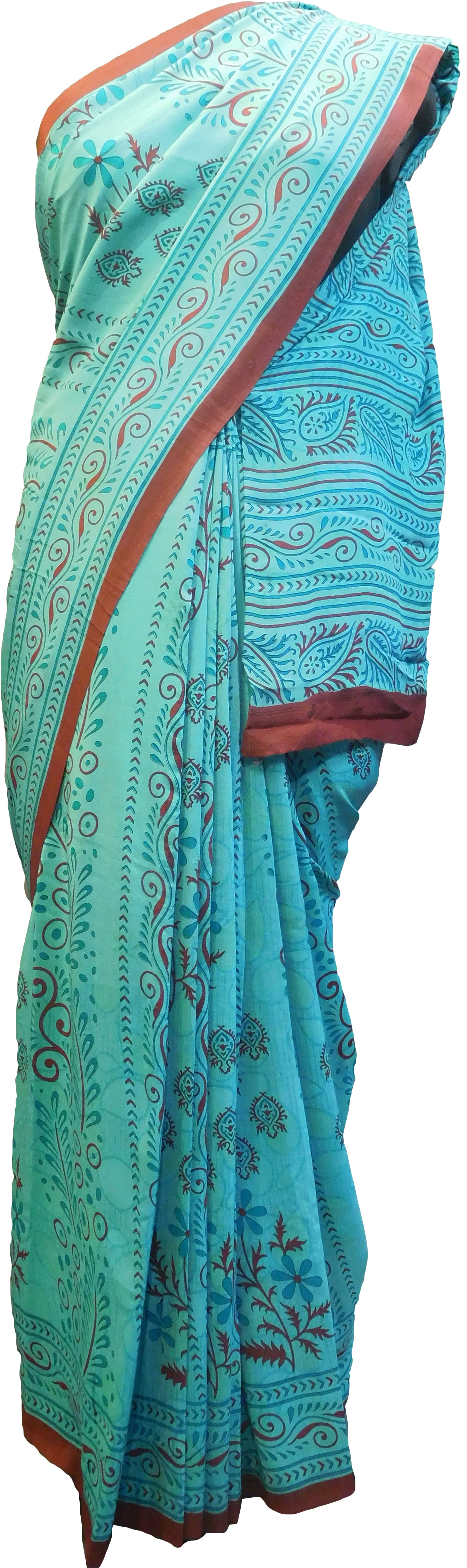 Multicolor Designer Wedding Partywear Pure Crepe Hand Brush Reprinted Kolkata Saree Sari RP262