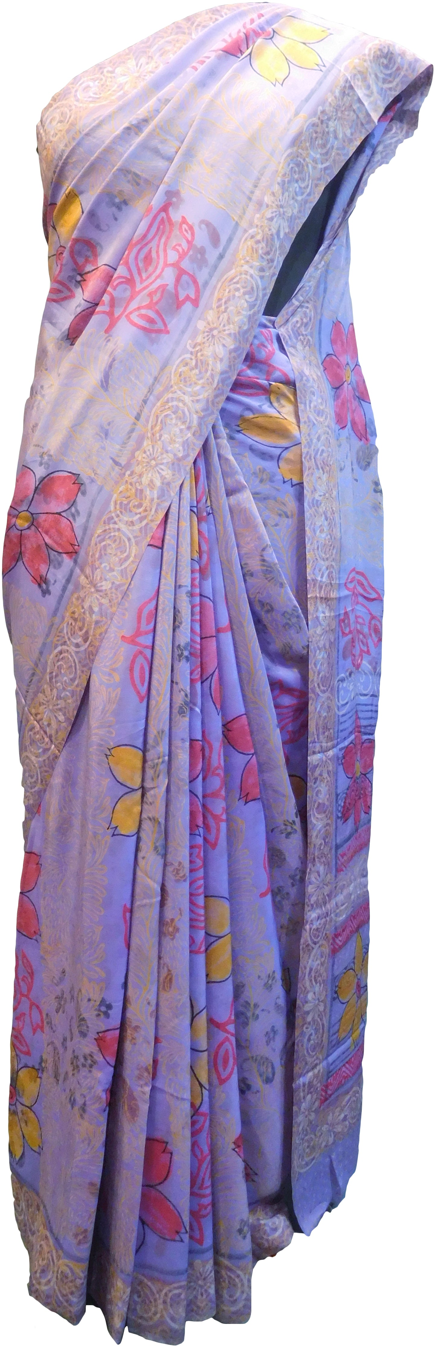 Multicolor Designer Wedding Partywear Pure Crepe Hand Brush Reprinted Kolkata Saree Sari RP263
