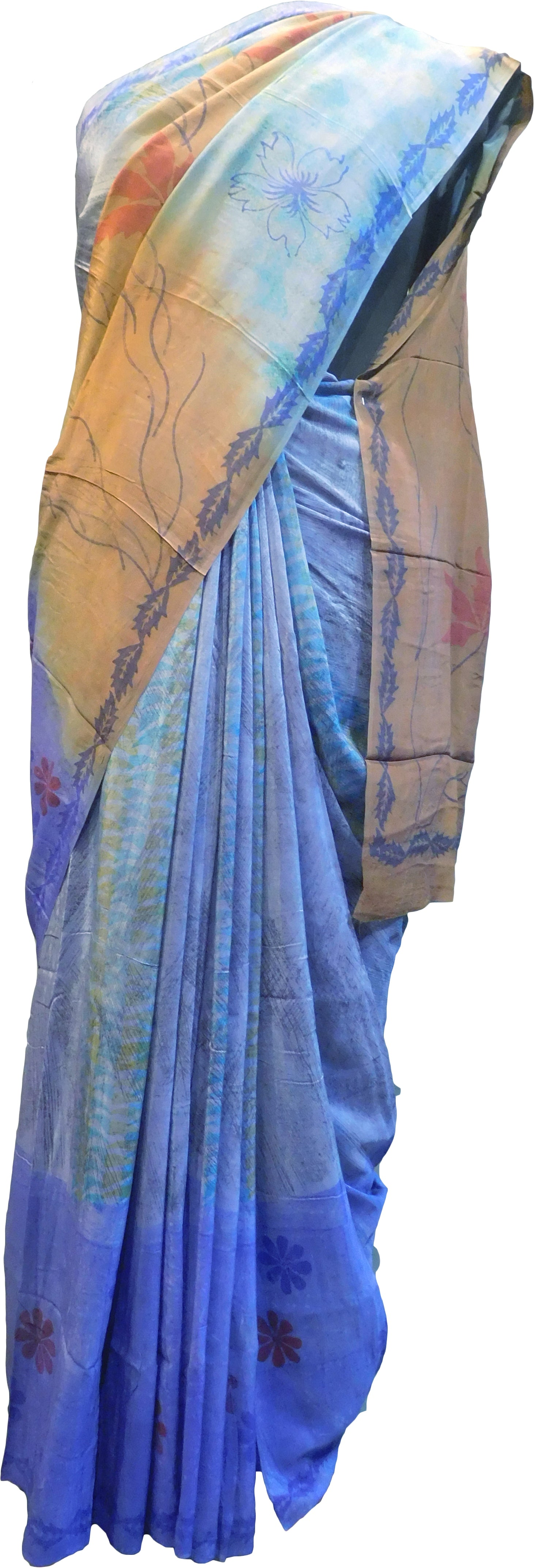 Multicolor Designer Wedding Partywear Pure Crepe Hand Brush Reprinted Kolkata Saree Sari RP265