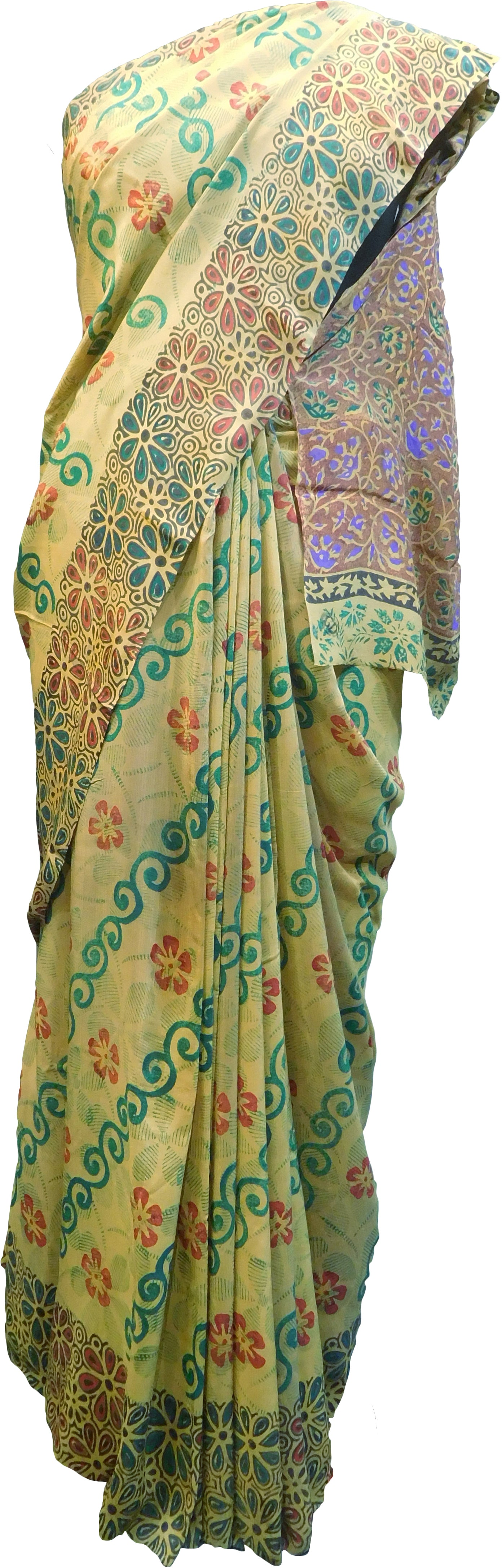 Multicolor Designer Wedding Partywear Pure Crepe Hand Brush Reprinted Kolkata Saree Sari RP267