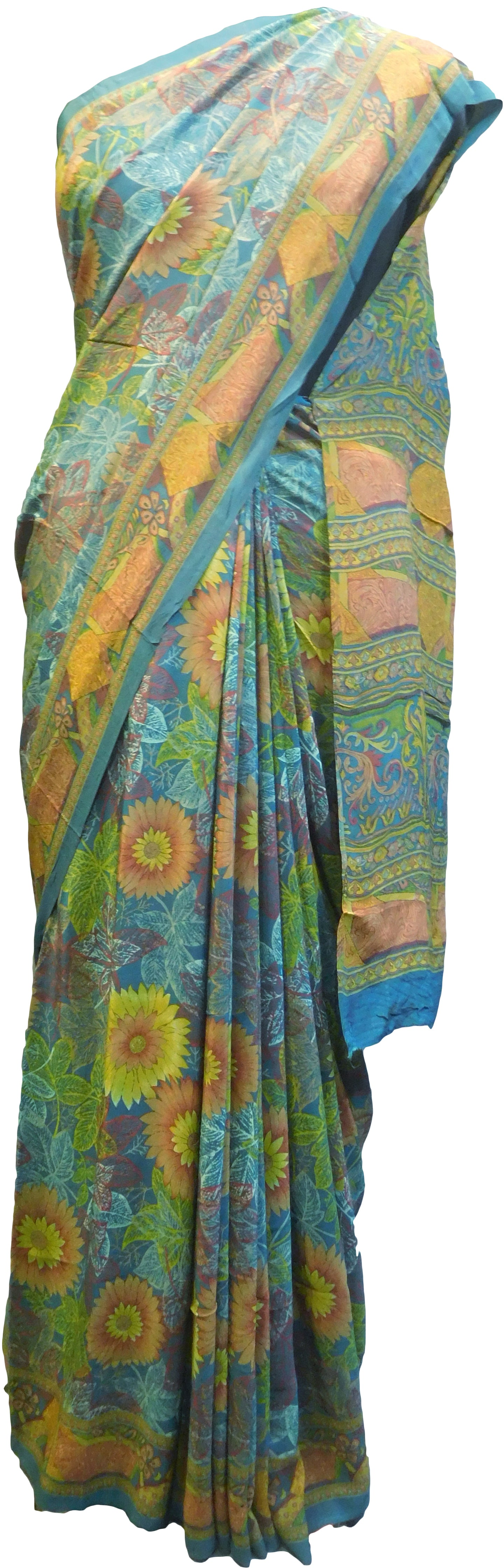 Multicolor Designer Wedding Partywear Pure Crepe Hand Brush Reprinted Kolkata Saree Sari RP268
