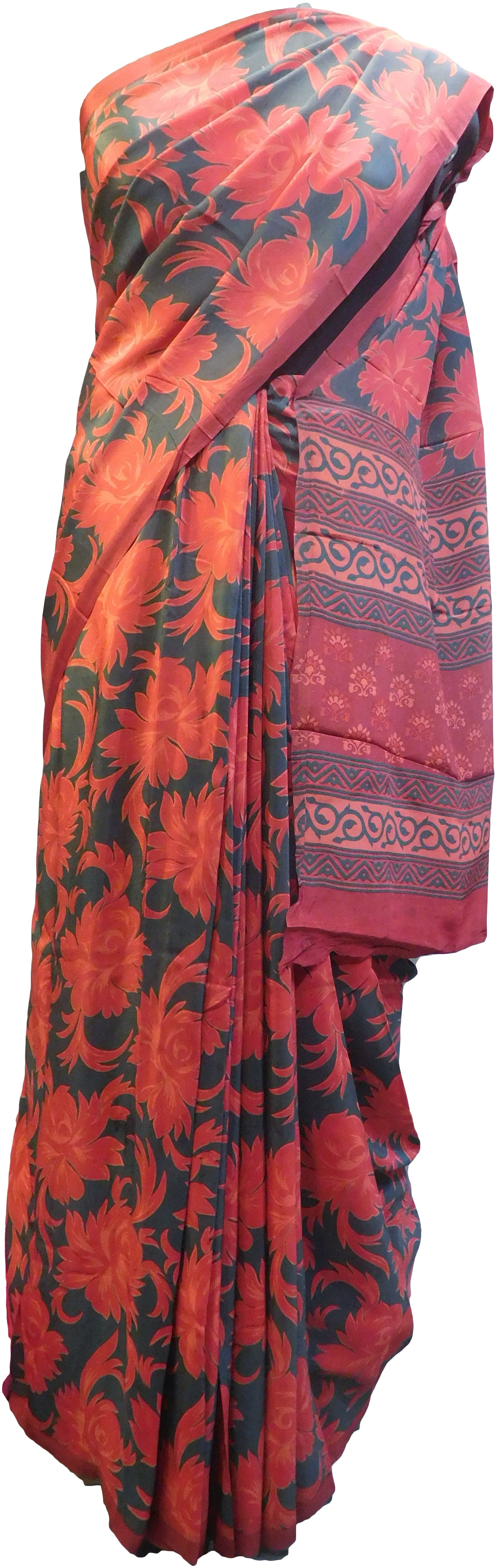Multicolor Designer Wedding Partywear Pure Crepe Hand Brush Reprinted Kolkata Saree Sari With Blouse Piece  RP280