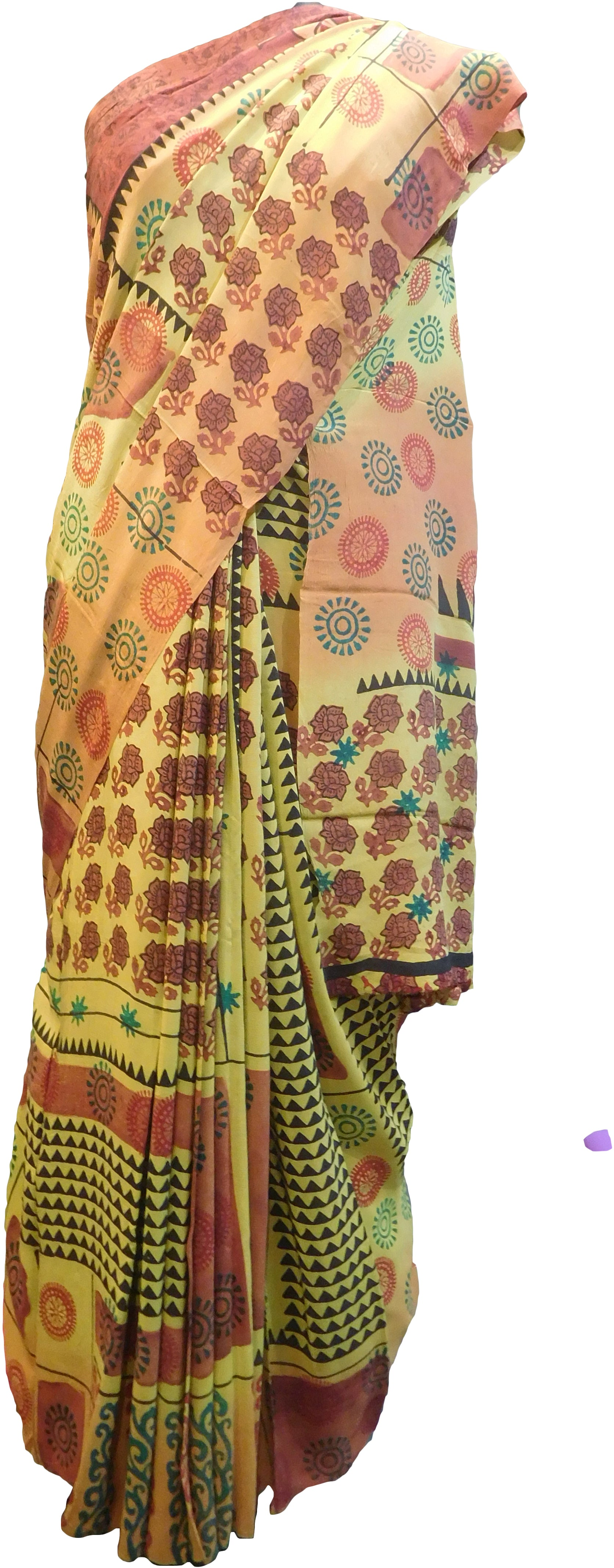 Multicolor Designer Wedding Partywear Pure Crepe Hand Brush Reprinted Kolkata Saree Sari With Blouse Piece  RP288