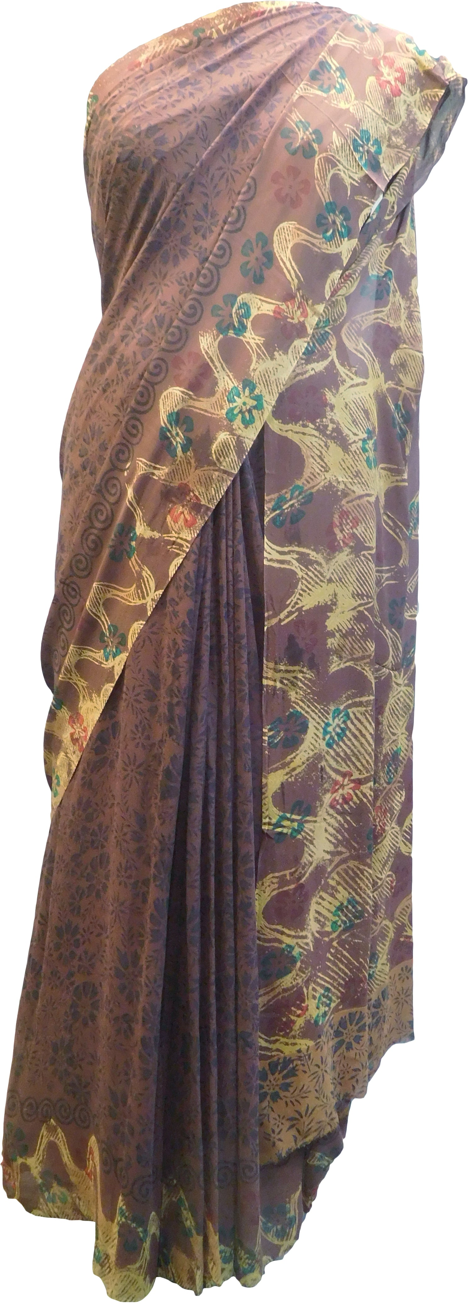 Multicolor Designer Wedding Partywear Pure Crepe Hand Brush Reprinted Kolkata Saree Sari With Blouse Piece RP290