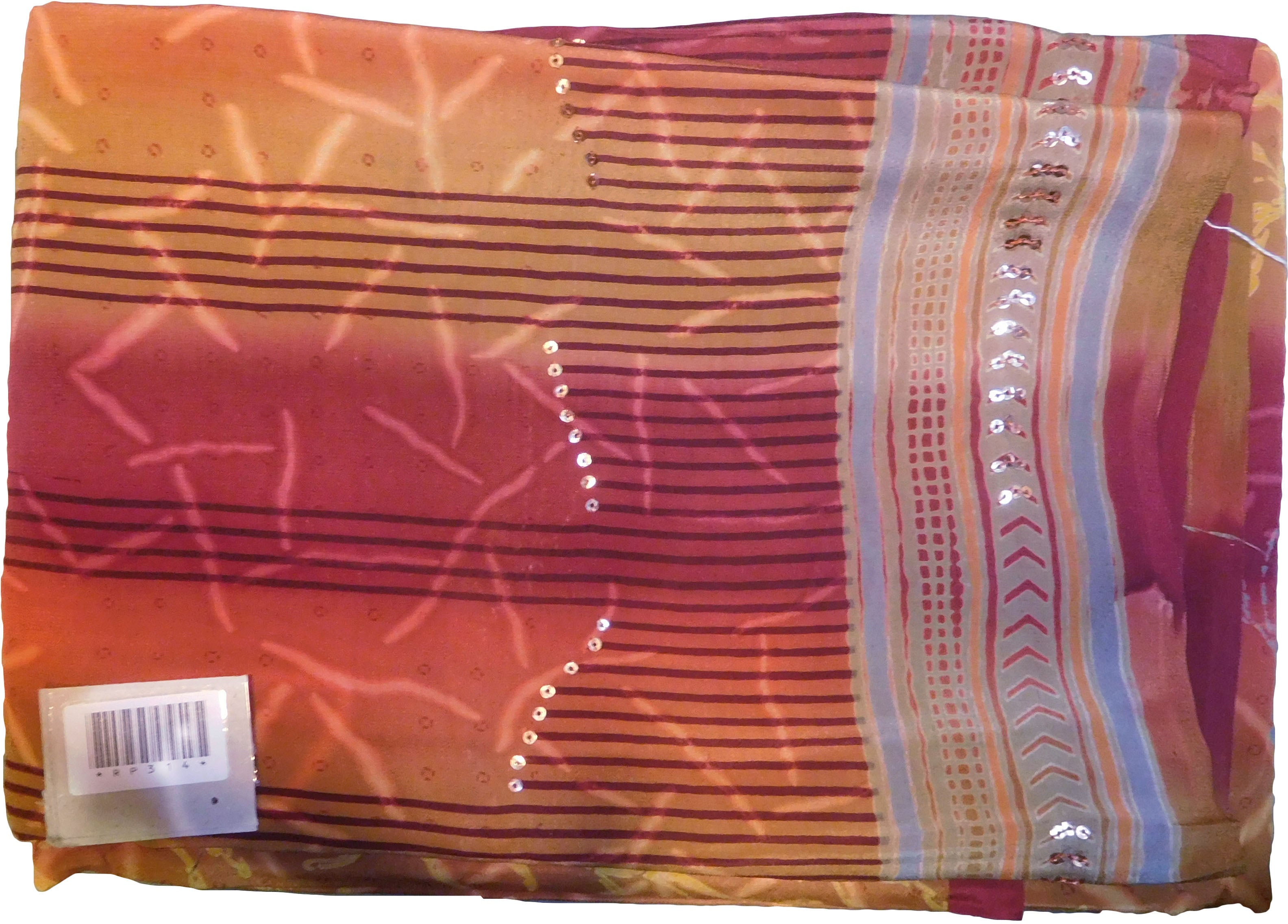 SMSAREE Multi Color Designer Wedding Partywear Pure Crepe Hand Brush Print Highlighted With Sequence Hand Embroidery Work Bridal Saree Sari With Blouse Piece RP314