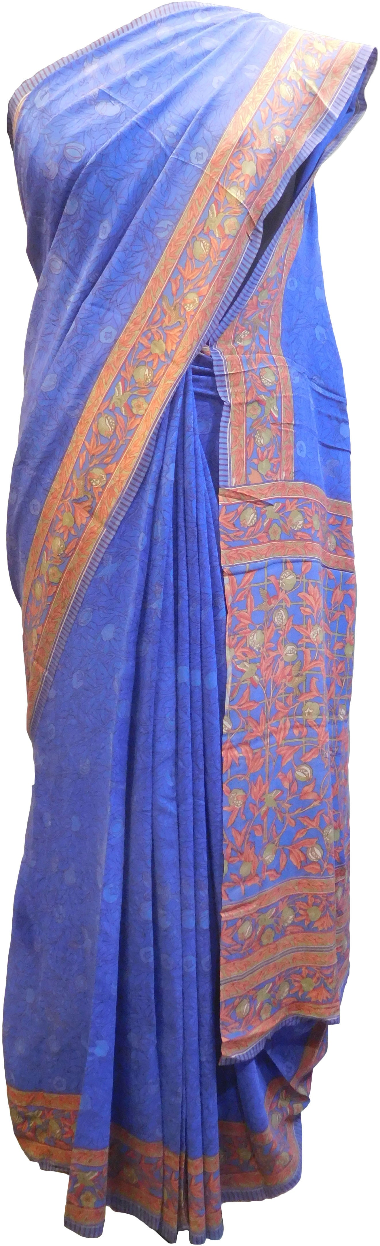 SMSAREE Multi Color Designer Wedding Partywear Pure Crepe Hand Brush Print Hand Embroidery Work Bridal Saree Sari With Blouse Piece RP338