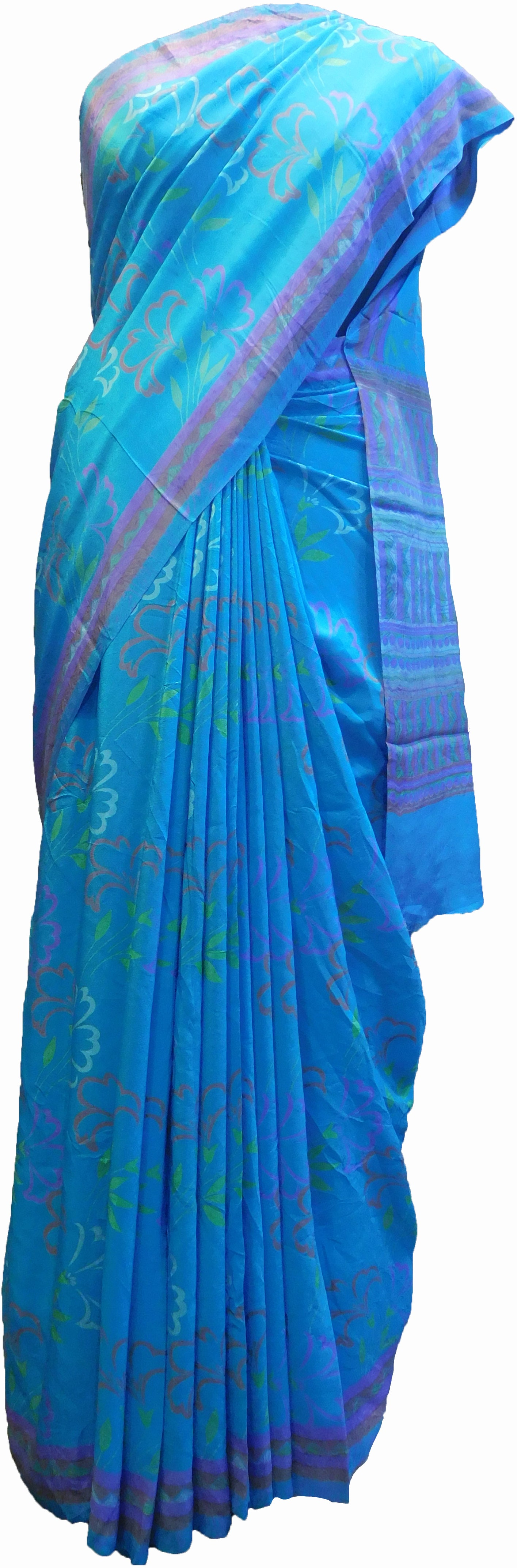 SMSAREE Multi Color Designer Wedding Partywear Pure Crepe Hand Brush Print Hand Embroidery Work Bridal Saree Sari With Blouse Piece RP344