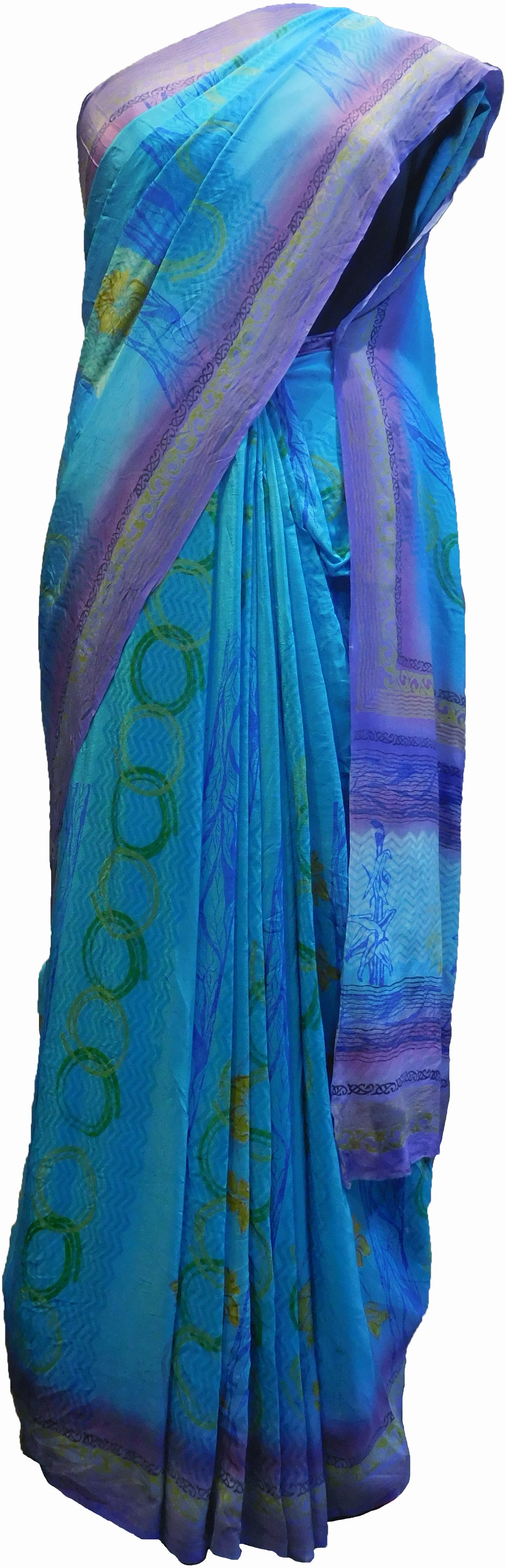 SMSAREE Multi Color Designer Wedding Partywear Pure Crepe Hand Brush Print Hand Embroidery Work Bridal Saree Sari With Blouse Piece RP348