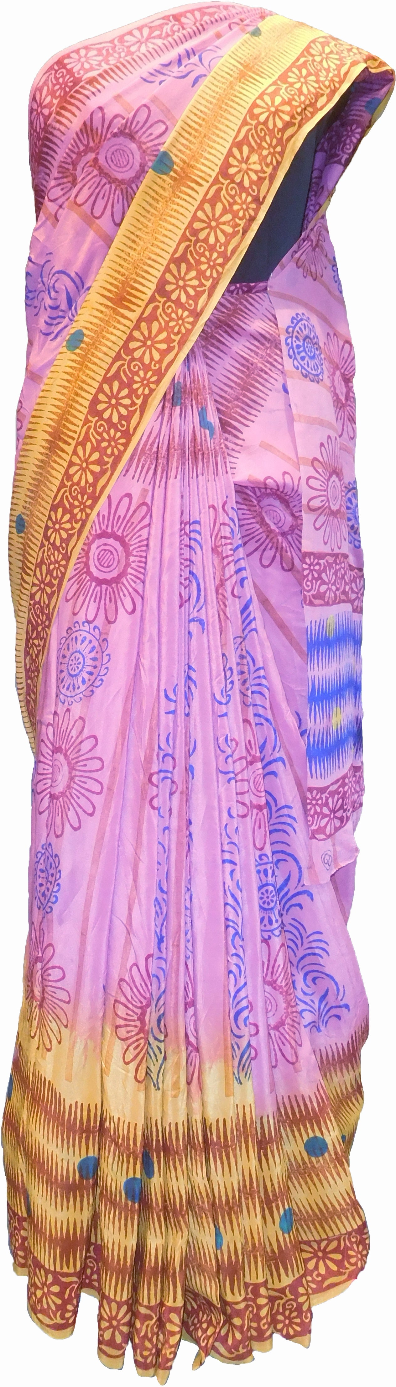 SMSAREE Multi Color Designer Wedding Partywear Pure Crepe Hand Brush Print Hand Embroidery Work Bridal Saree Sari With Blouse Piece RP349