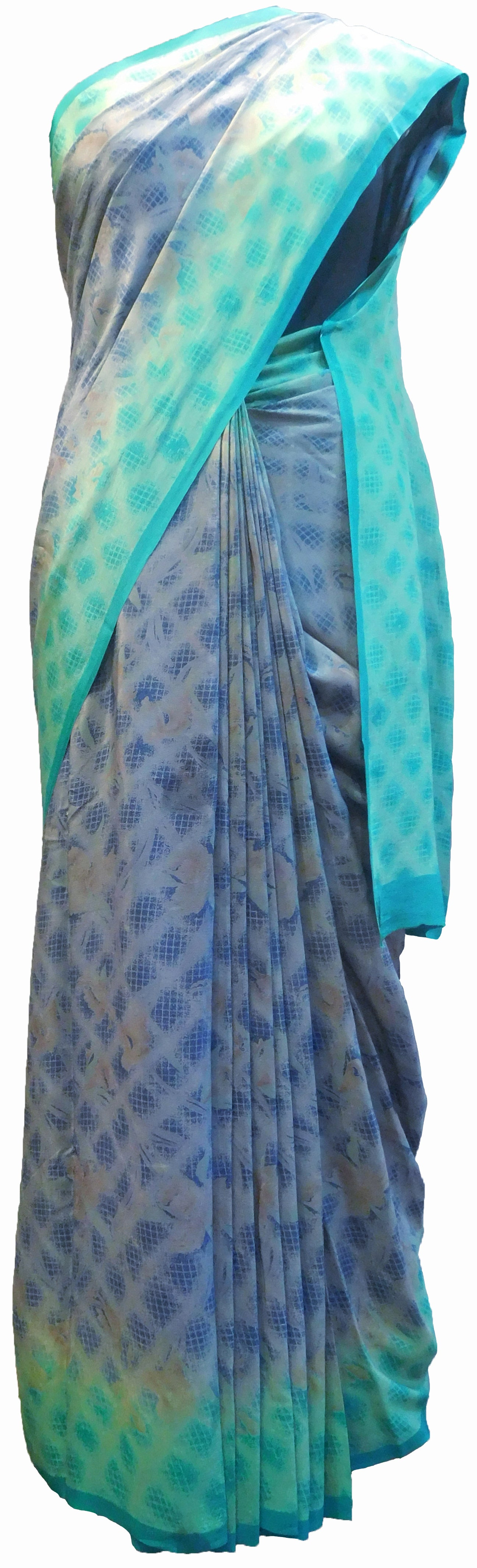 SMSAREE Multi Color Designer Wedding Partywear Pure Crepe Hand Brush Print Hand Embroidery Work Bridal Saree Sari With Blouse Piece RP351
