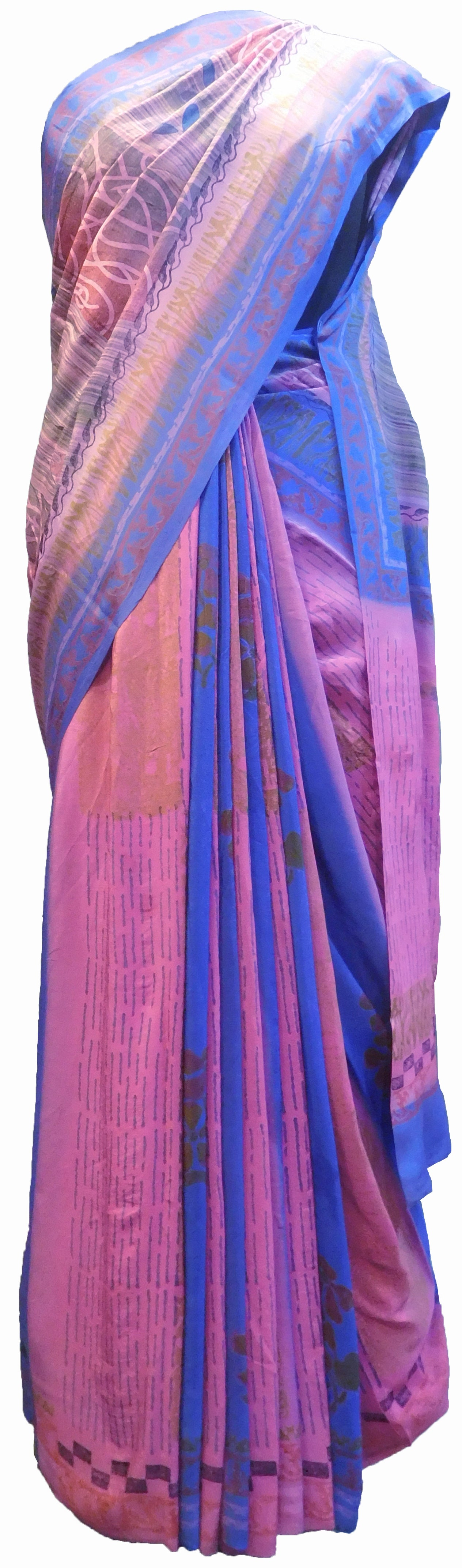 SMSAREE Multi Color Designer Wedding Partywear Pure Crepe Hand Brush Print Hand Embroidery Work Bridal Saree Sari With Blouse Piece RP353