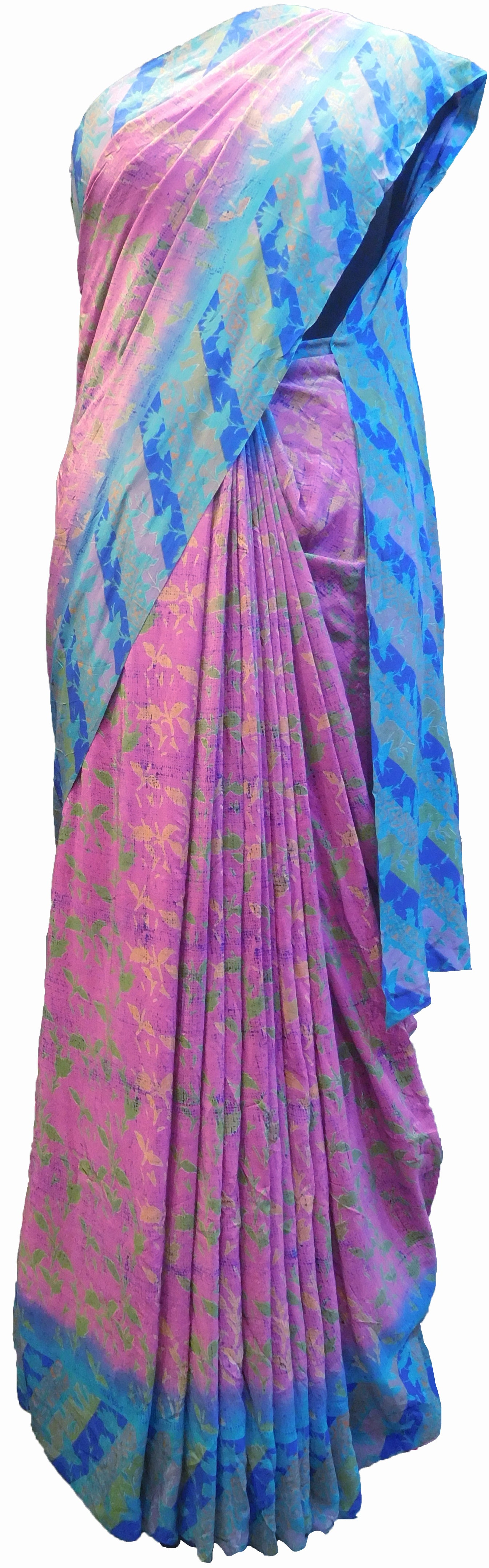 SMSAREE Multi Color Designer Wedding Partywear Pure Crepe Hand Brush Print Hand Embroidery Work Bridal Saree Sari With Blouse Piece RP355