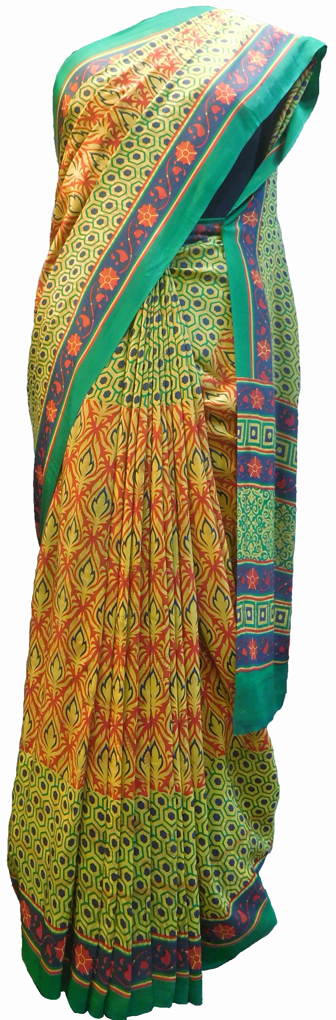 SMSAREE Multi Color Designer Wedding Partywear Pure Crepe Hand Brush Print Hand Embroidery Work Bridal Saree Sari With Blouse Piece RP356