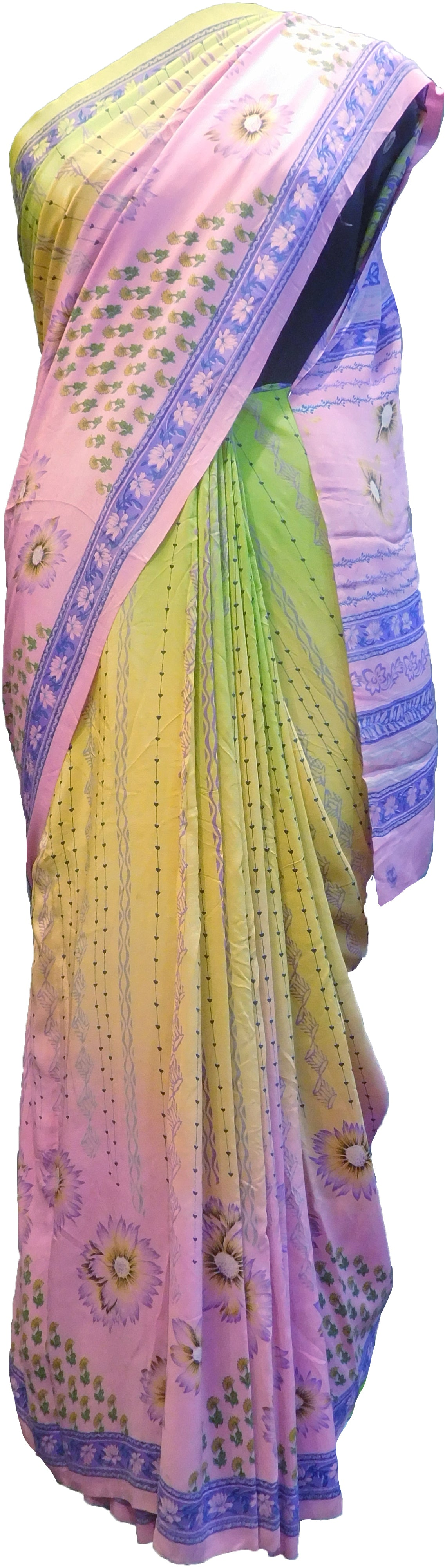 SMSAREE Multi Color Designer Wedding Partywear Pure Crepe Hand Brush Print Hand Embroidery Work Bridal Saree Sari With Blouse Piece RP369