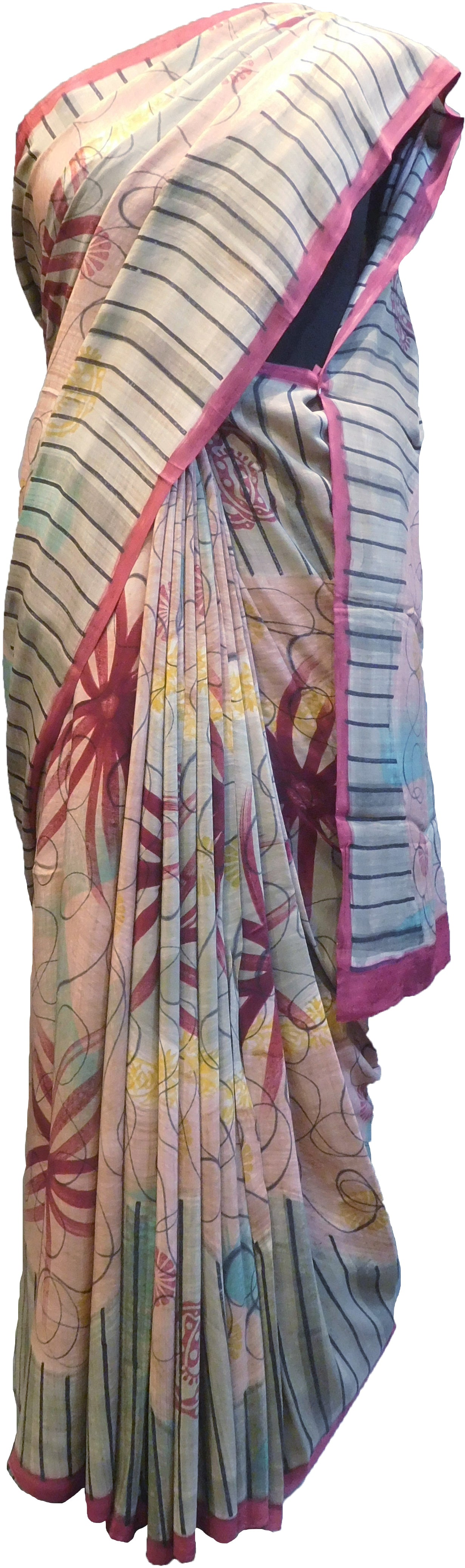 SMSAREE Multi Color Designer Wedding Partywear Pure Crepe Hand Brush Print Hand Embroidery Work Bridal Saree Sari With Blouse Piece RP372