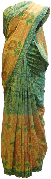 Multicolor Designer Wedding Partywear Pure Crepe Hand Brush Reprinted Kolkata Saree Sari RP89