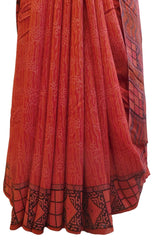 Multicolor Designer Wedding Partywear Pure Crepe Hand Brush Reprinted Kolkata Saree Sari RP90