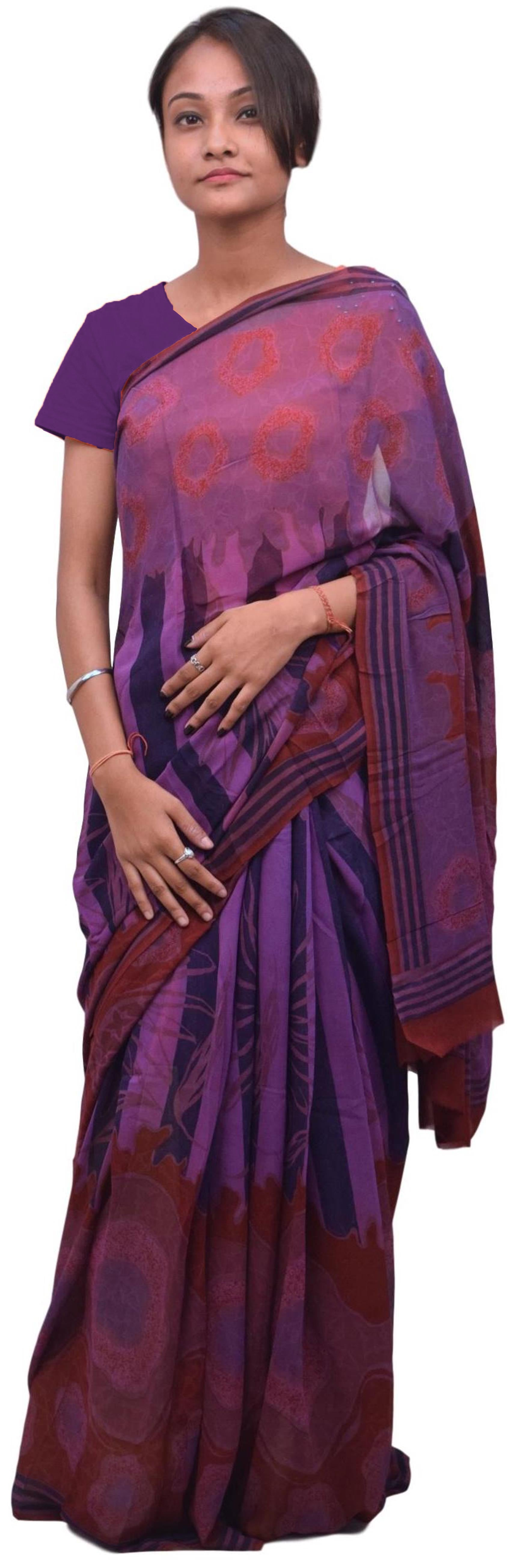 Multicolor Designer Wedding Partywear Pure Crepe Hand Brush Reprinted Kolkata Saree Sari RP92