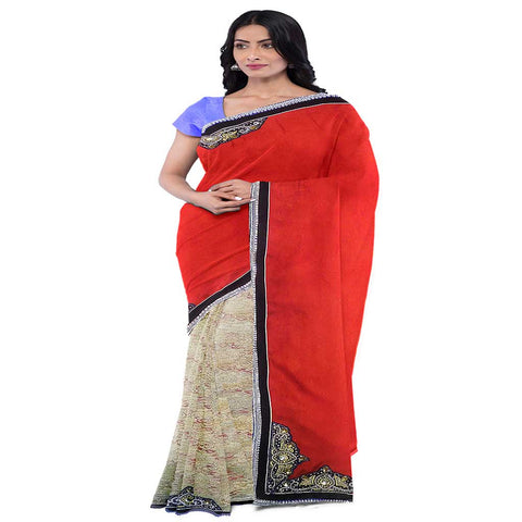 Red Cream Designer Wedding Partywear Georgette Net Zari Hand Embroidery Work Bridal Saree Sari With Blouse Piece E494