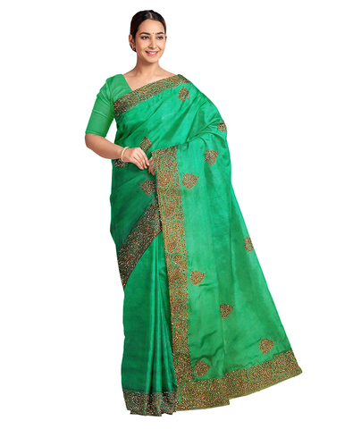 Deep Green Designer Wedding Partywear Silk Zari Stone Beads Hand Embroidery Work Bridal Saree Sari With Blouse Piece E808