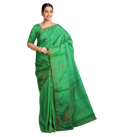 Green Designer Wedding Partywear Silk Zari Hand Embroidery Work Bridal Saree Sari With Blouse Piece F217