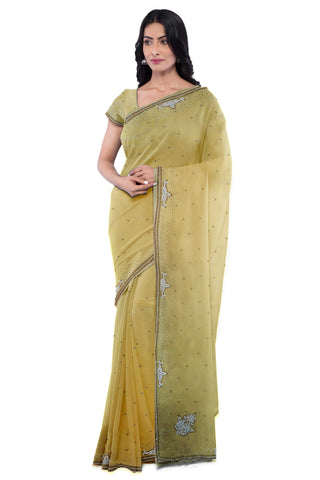 Beige Designer Wedding Partywear Georgette Zari Hand Embroidery Work Bridal Saree Sari With Blouse Piece F281
