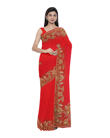 Red Designer Wedding Partywear Georgette Bullion Stone Hand Embroidery Work Bridal Saree Sari With Blouse Piece F483