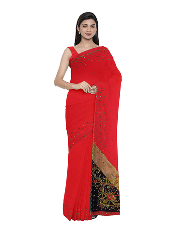 Red Designer Wedding Partywear Georgette Zari Cutdana Stone Hand Embroidery Work Bridal Saree Sari With Blouse Piece F485